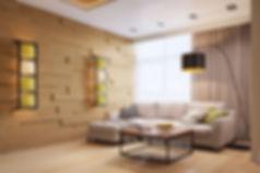 3d визуализация гостиной, уютный интерьер, дизайн помещения