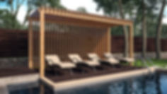 Визуализация зоны отдыха, визуализация домашнего бассейна, бассейн с перголой и лежаками