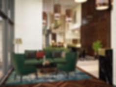 Визуализация зоны отдыха, уютная зона отдыха в вестибюле, общественный интерьер