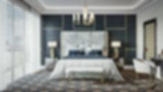 кровать, стиль ар деко, панели на стенах