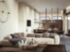 интерьер в коричневых тонах, использование декоративной штукатурки, бетоный пол в дизайне интерьера