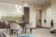 Визуализация теплого интерьера, современный интерьер кухни-гостиной, уютное жилье