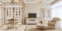 Дизайн кухни-гостиной, дизайн в стиле прованс, визуализация квартиры прованс