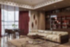 Гостиная в пастельных тонах, стены из шпона, 3D интерьер