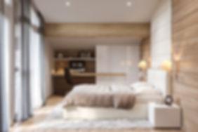 балки в интерьере спальни, спальня шале