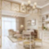 Интерьер в стиле прованс, уютный интерьер квартиры, визуализация столовой и гостиной