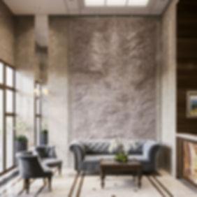 Визуализация зоны отдыха в вестибюле, место ожидания в ЖК, 3d изображение
