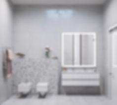 серая плитка, большое зеркало в туалете