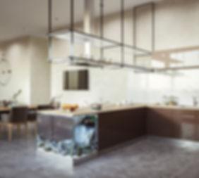вытяжка на кухне, коричневые фасады кухни, визуализация кухни