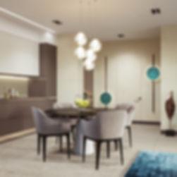 Визуализация современного интерьера, визуализация дизайн-проекта кухни-гостиной