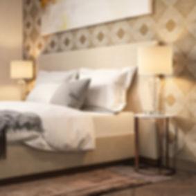 светильник, светлая спальня, красивый дизайн спальни