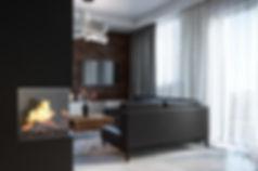 Уютный интерьер, гостиная с камином, визуализация гостиной в доме