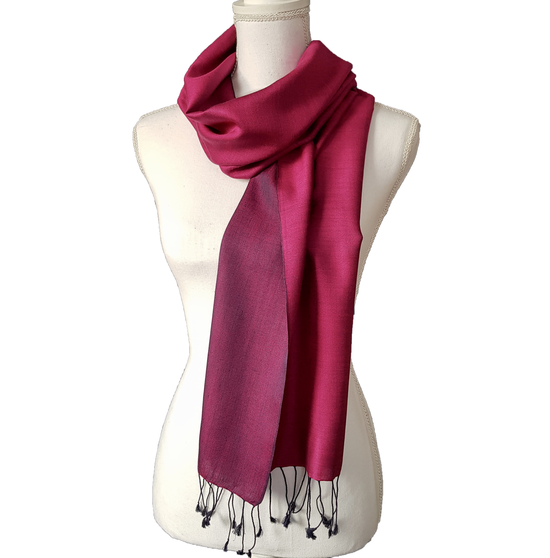 Double faced silk scarf - Dark / Light Fuscia