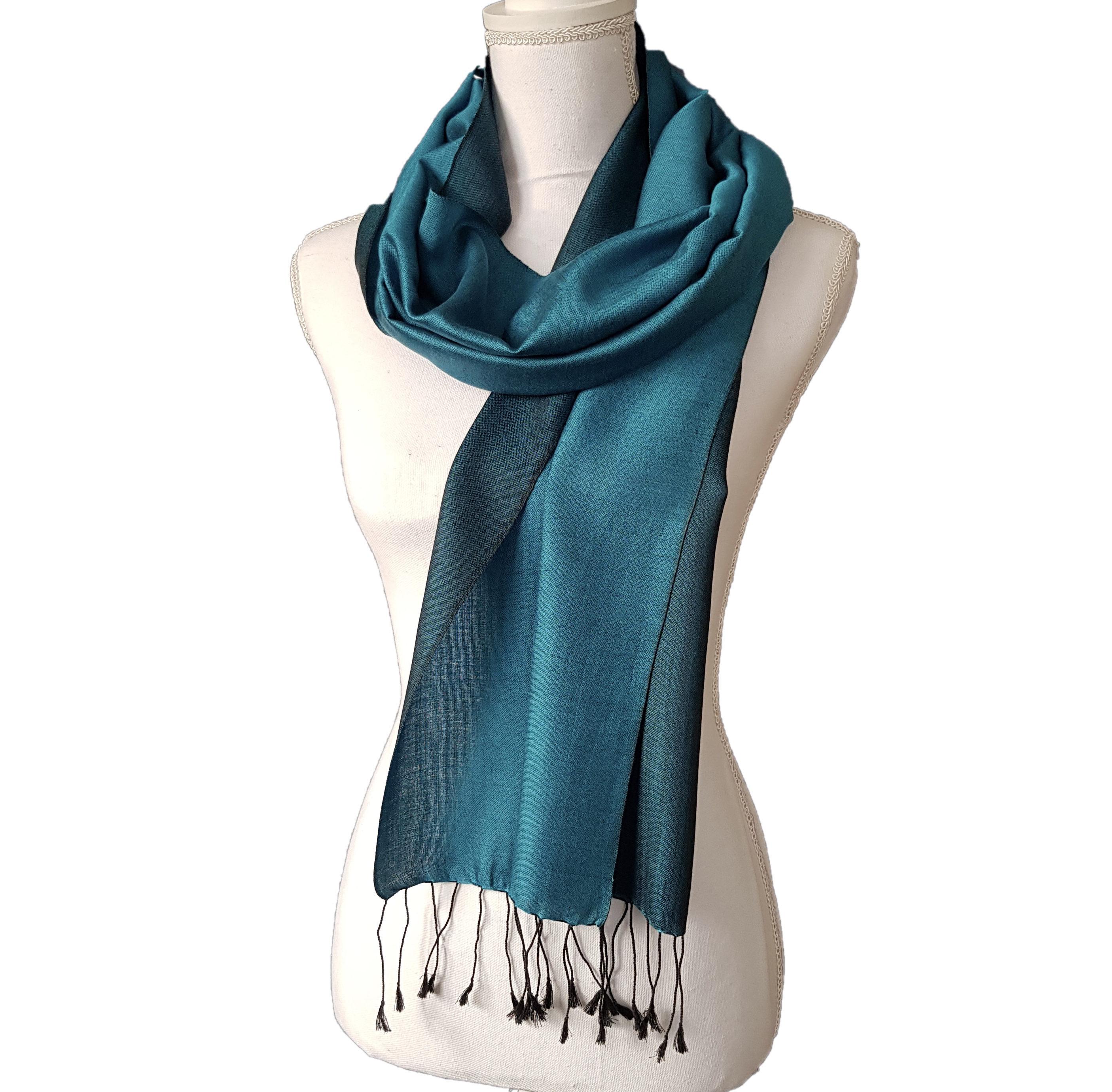 Double faced silk scarf - Dark/Light Turquoise