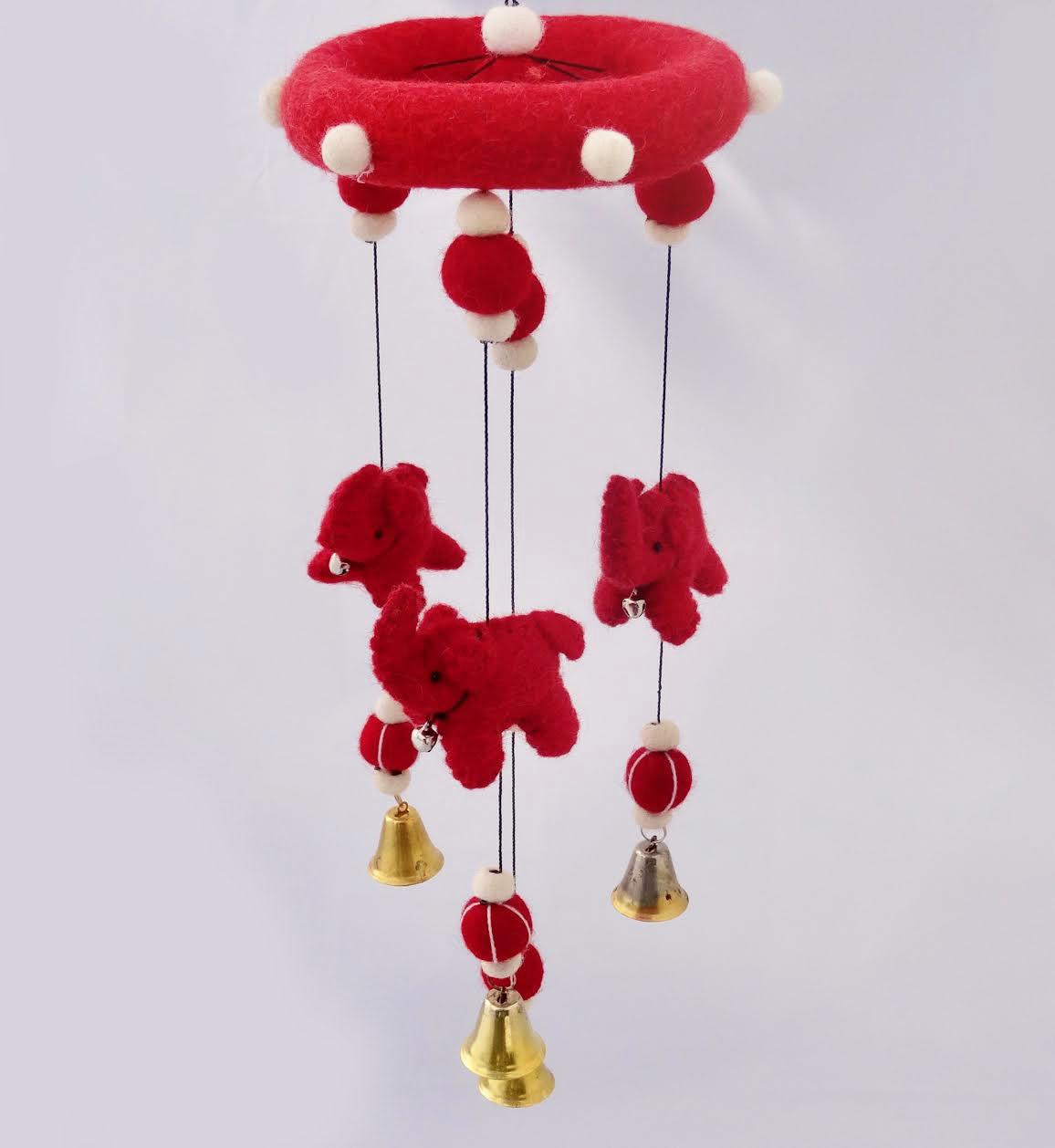 Red elephants mobile.