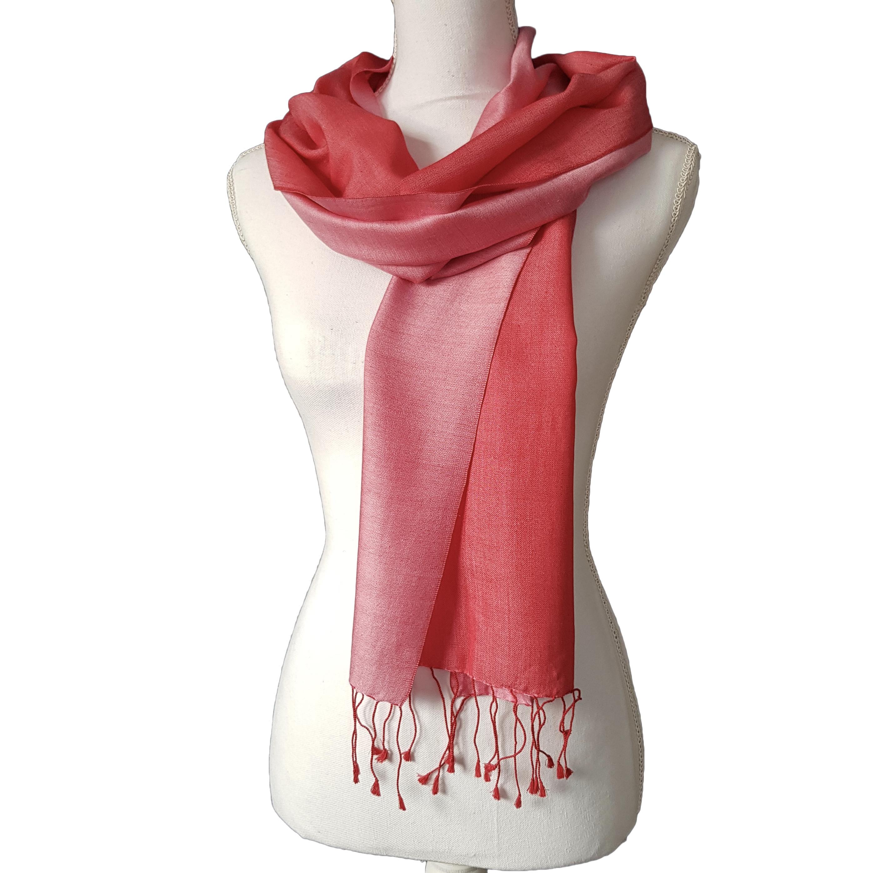 Double faced silk scarf - Dark/Light Orangey Pink