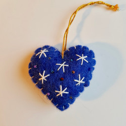 Blue / white heart hanging  £3.00