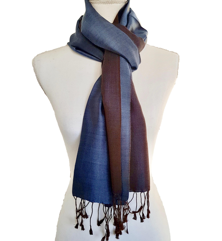Double faced silk  scarf - Midnight/Dark Blue