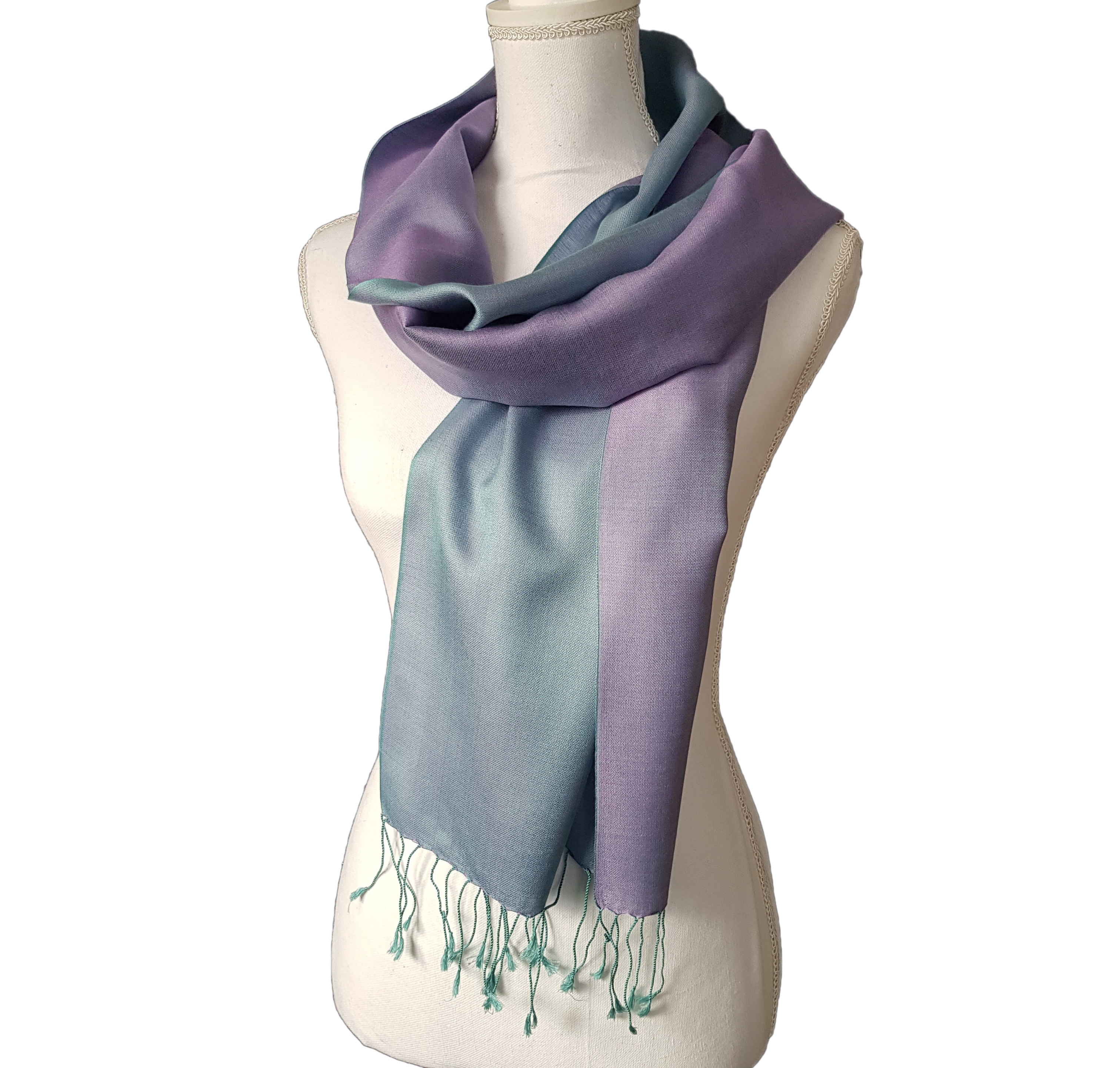 Double faced silk scarf - Lavender/Pale Blue