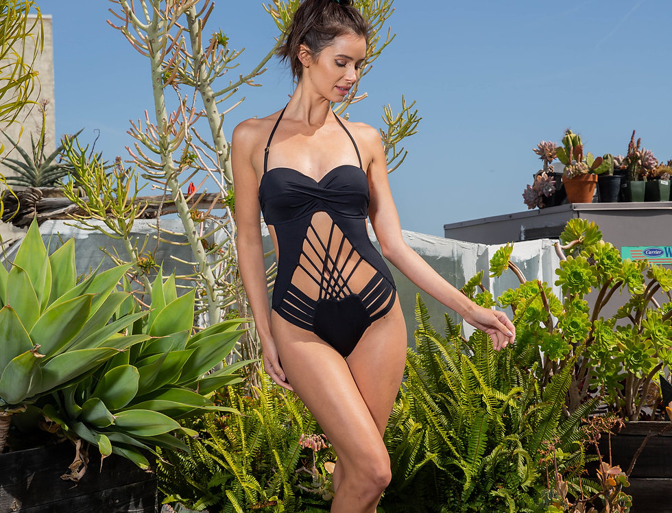 Ladies Black Sexy Strappy Cage Open Front One Piece
