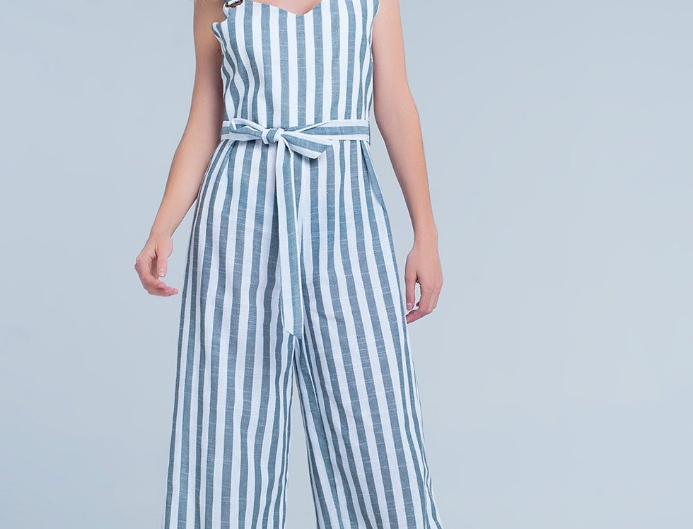 Green-White Striped Jumpsuit