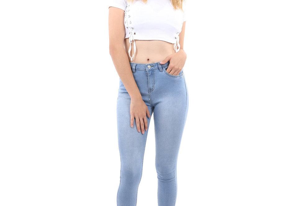 Talus High Waisted Skinny Jeans - Light Blue