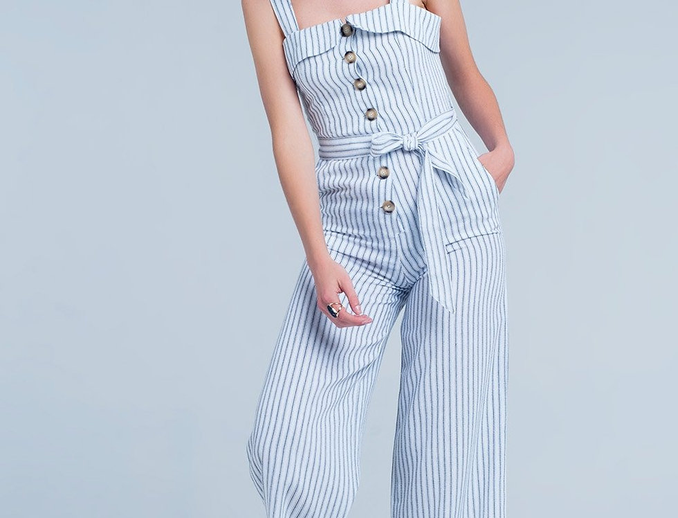 White Coloured Jumpsuit With Stripes