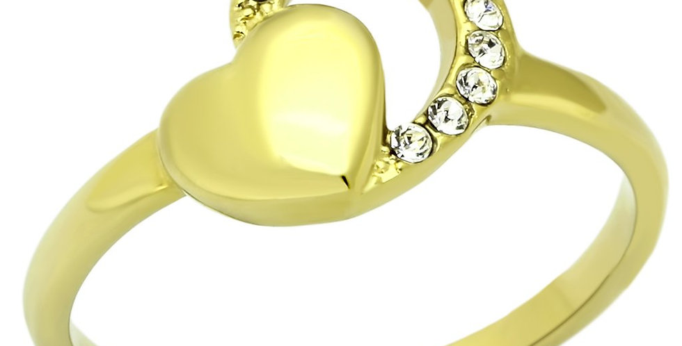 TK1024 IP Gold(Ion Plating) Stainless Steel Ring With Top Grade Crystal in Clear