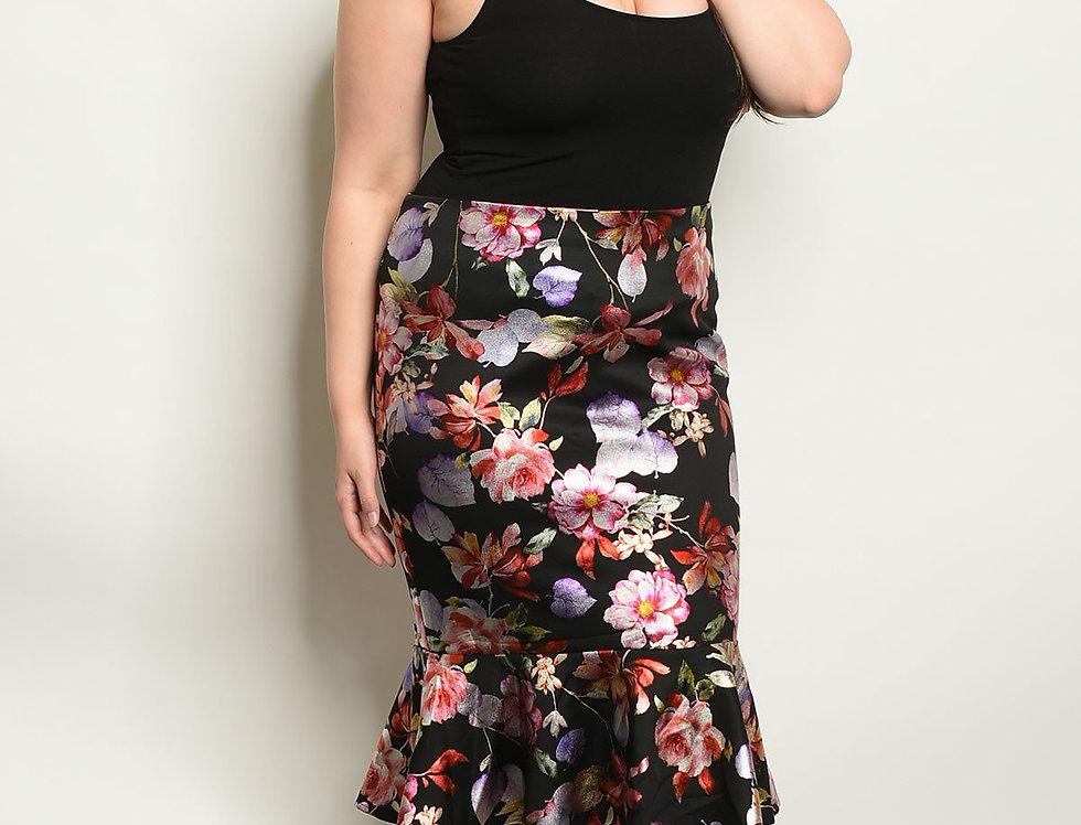 Black Floral Plus Size Skirt
