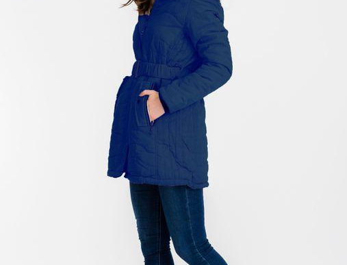 Heather Long Puffy Jacket Navy