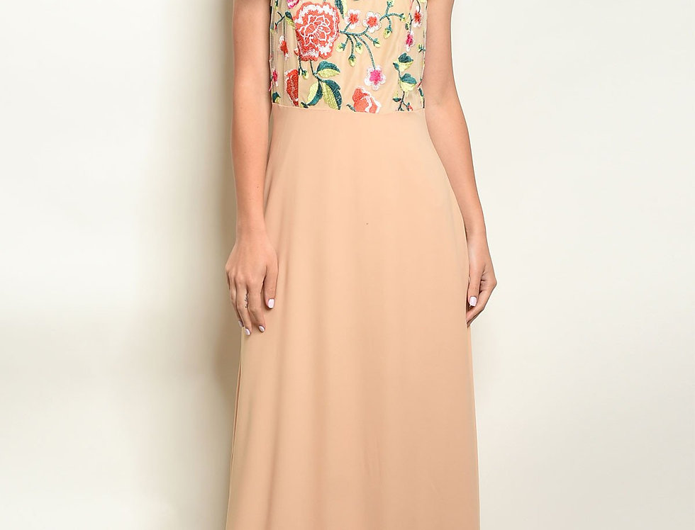 Beige Embroidery Dress