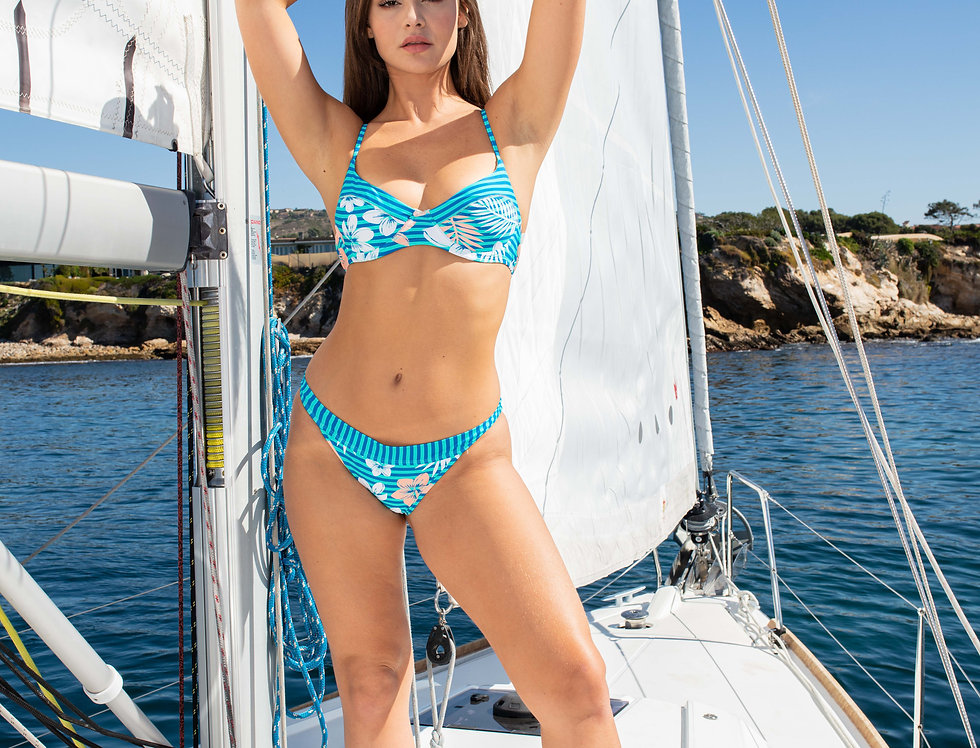 Ladies Blue Stripe Criss Cross Top With Bikini Bottom