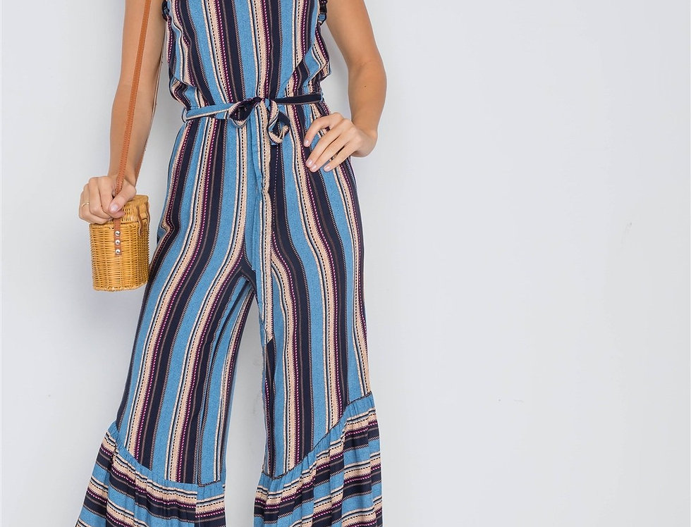 Stripe Jumpsuit -Blue