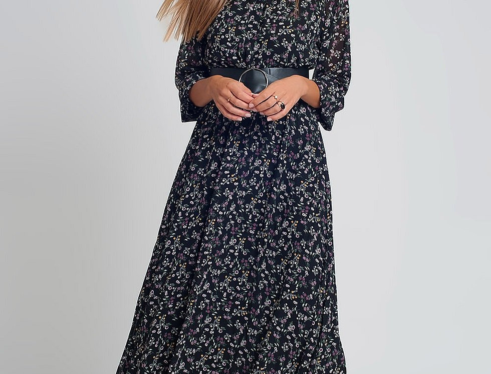 Chiffon Maxi Dress With Puff Sleeve and Belt in Black Floral Print