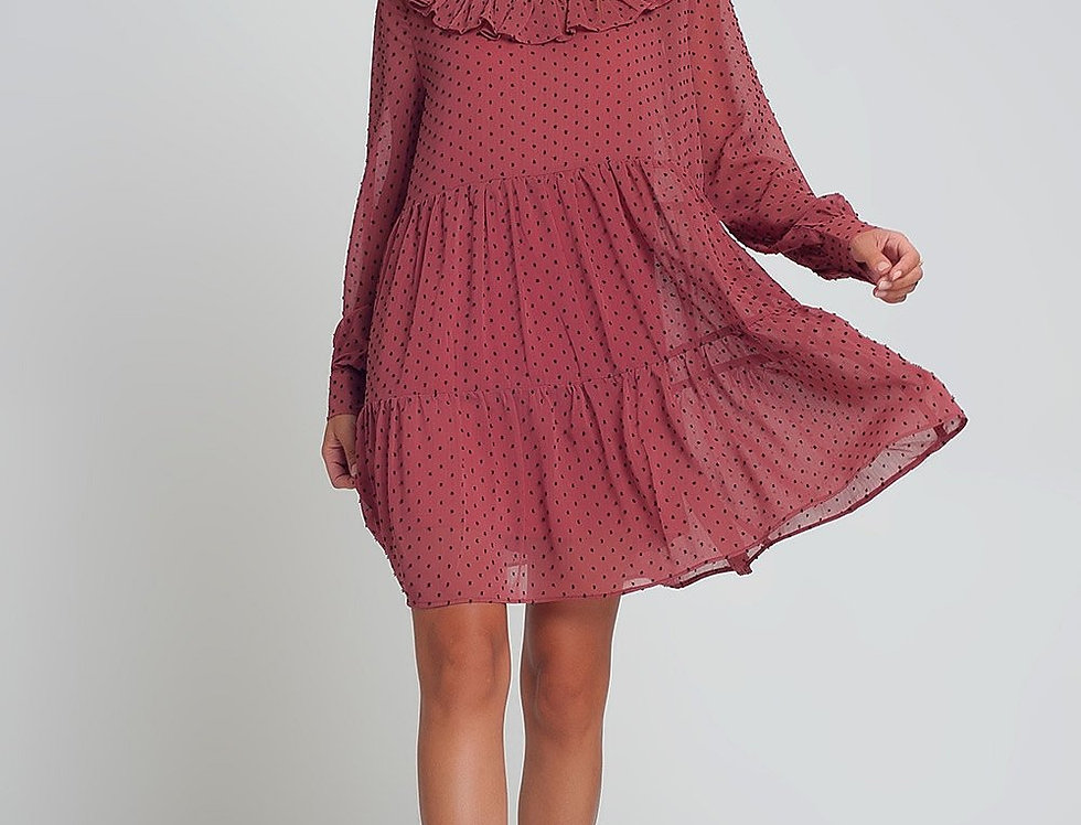 Smocked Chiffon Mini Dress With Ruffles Puff Sleeves in Pink With Black Polk Dot