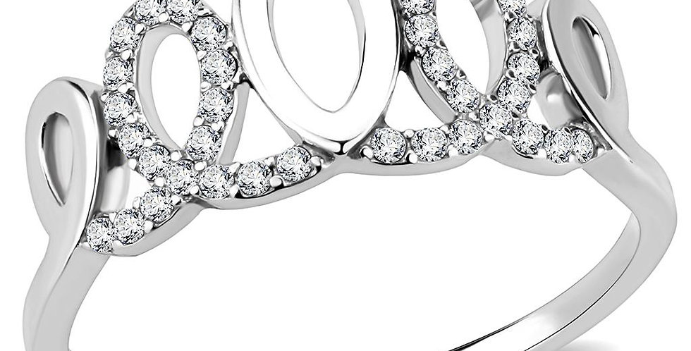 DA258 High Polished (No Plating) Stainless Steel Ring With AAA Grade CZ in Clear