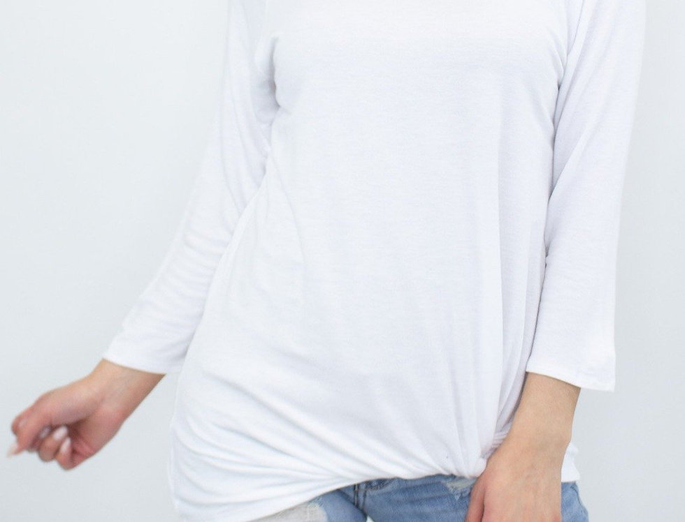 Twisted Front Comfortable Top - White