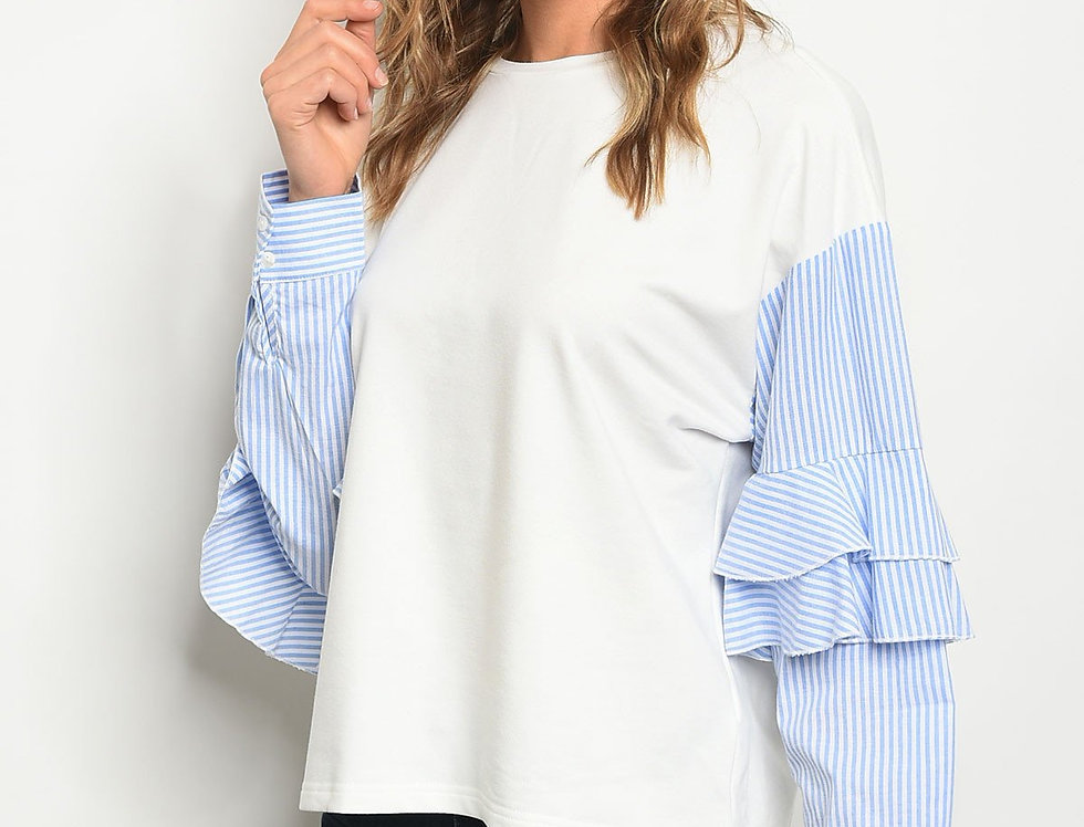 Womens Ivory Blue Top