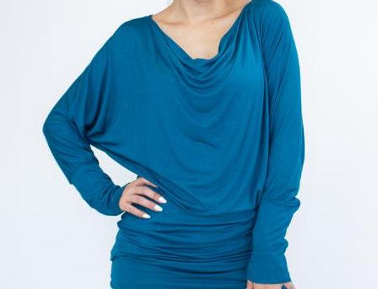 Cowl Neck Long Sleeve Solid Top - Jade