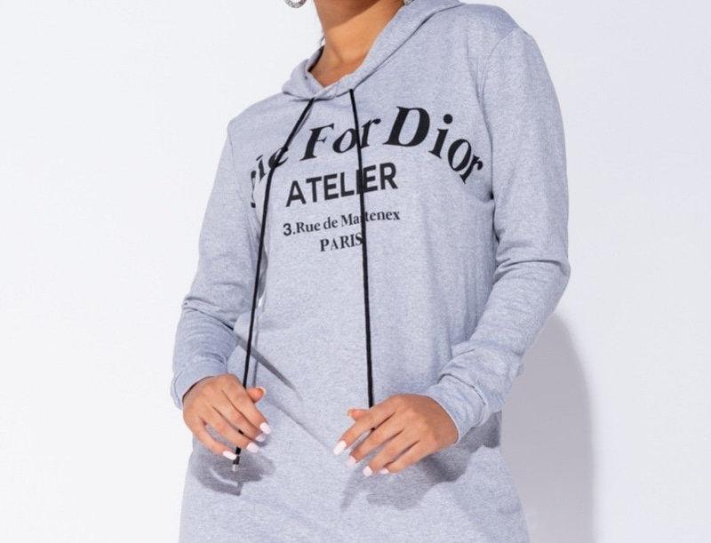Grey Die for Dior Hooded Jumper Dress