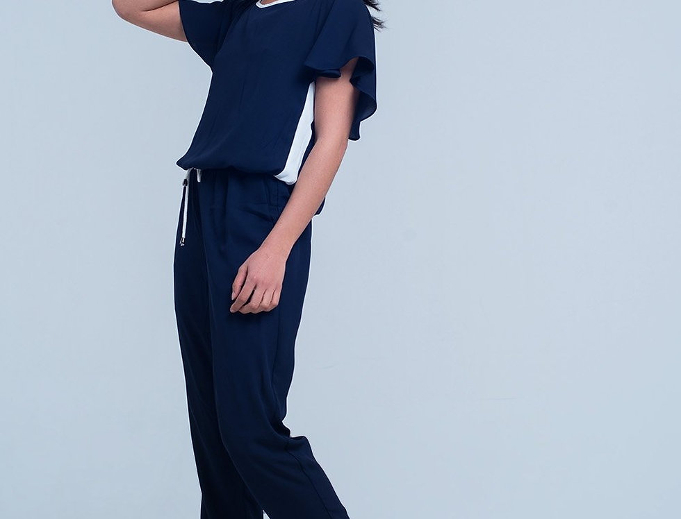 Navy Blue Jumpsuit With Short Sleeve and Ruffle Detail