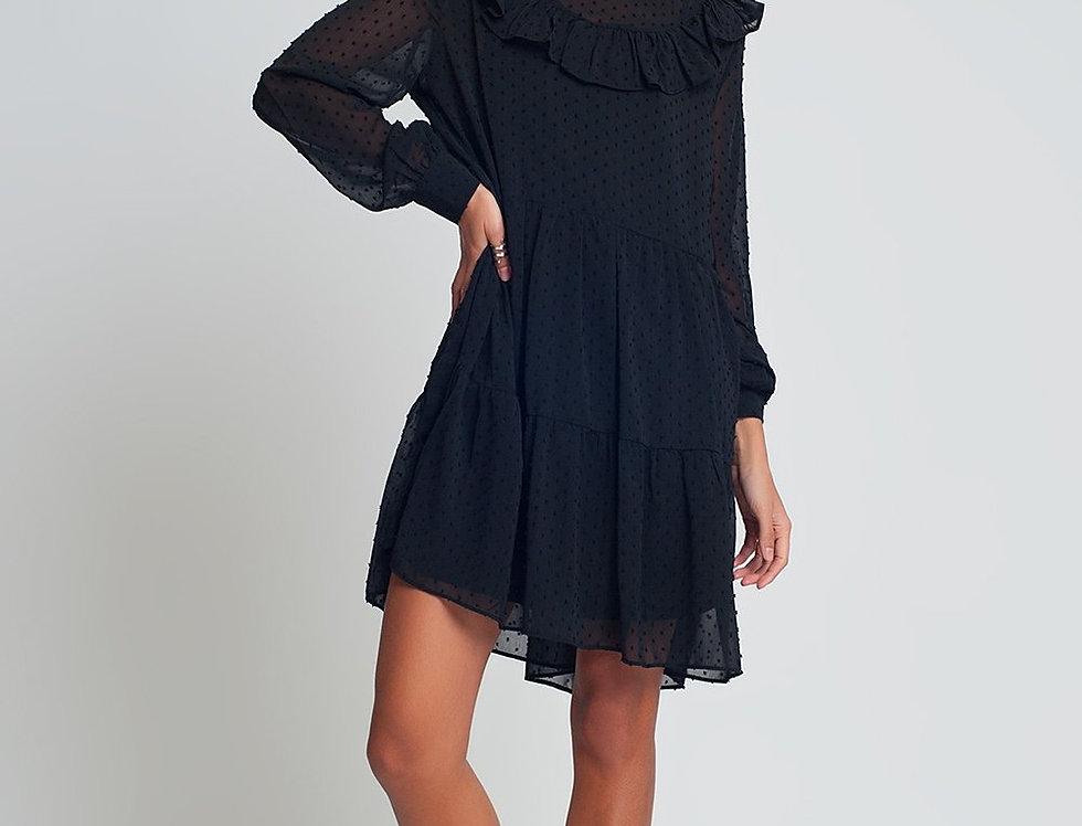 Smocked Chiffon Mini Dress With Ruffles Puff Sleeves in Black With Polk Dot
