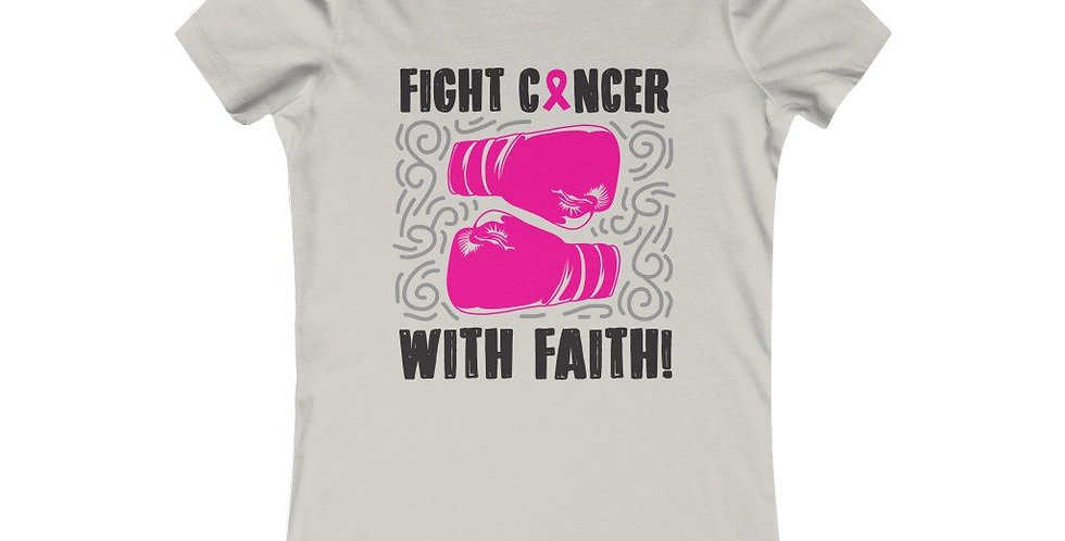 Fight Cancer With Faith Pink Breast Cancer Awareness Women Tee