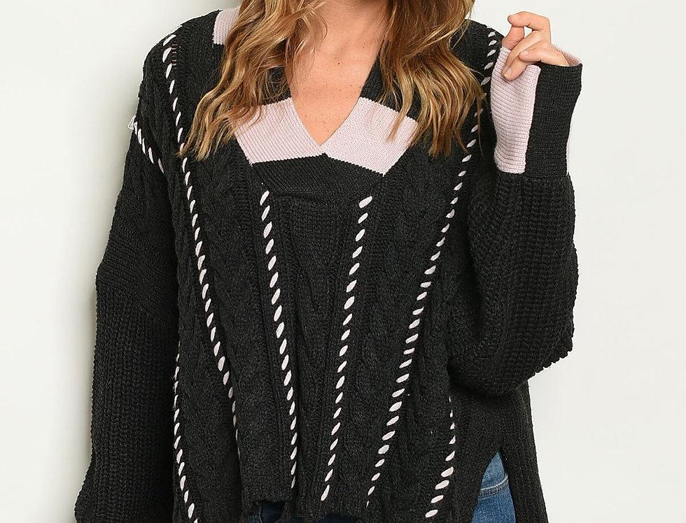 Womens Black Pink Sweater
