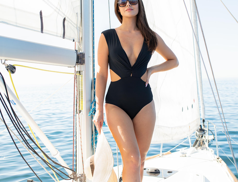 Ladies Solid Black v Cut Front With Open Side One Piece
