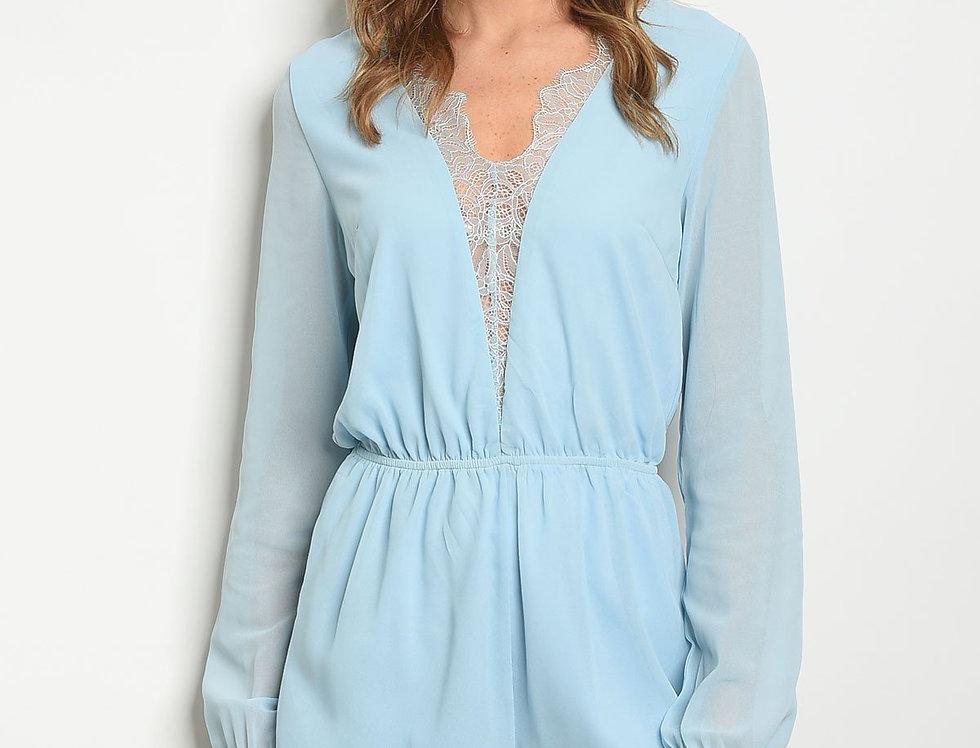 Womens Sky Blue Lace Romper