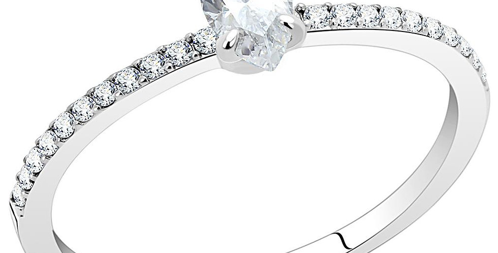 DA031 High Polished (No Plating) Stainless Steel Ring With Cubic in Clear