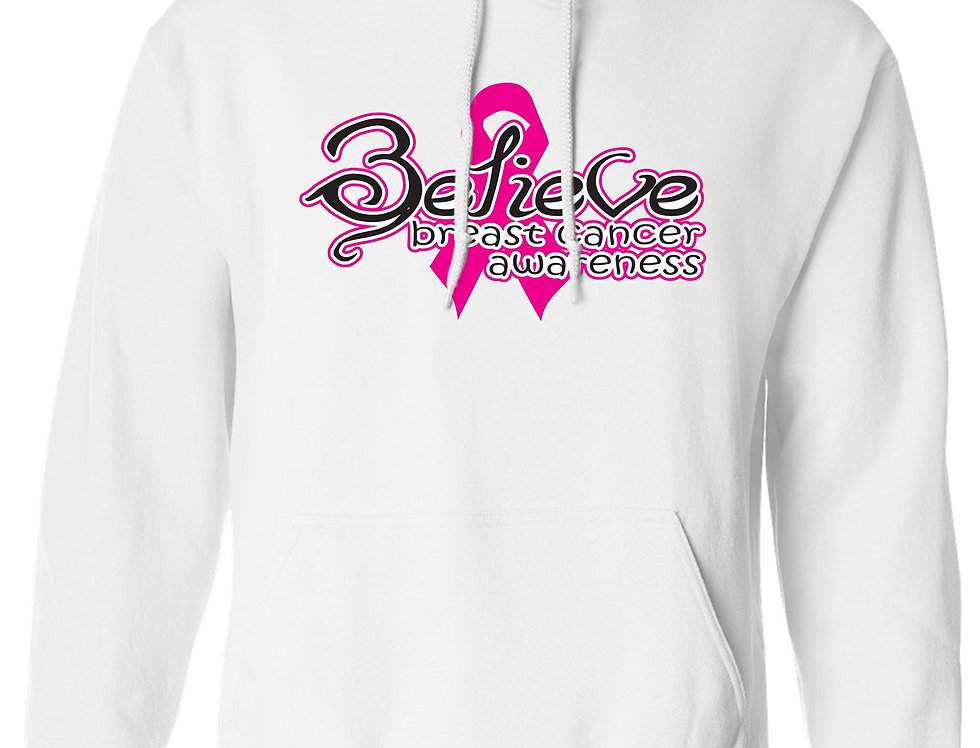 Unisex Pullover Hoodie Breast Cancer Awareness Believe