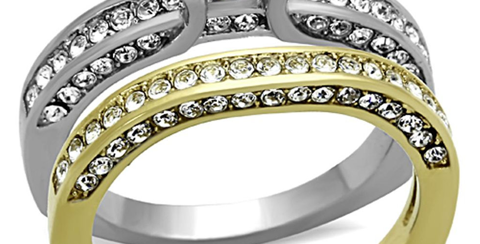 Stainless Steel Ring With AAA Grade CZ in Clear