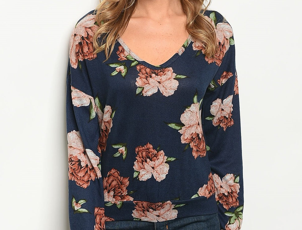 Womens Navy Floral Top